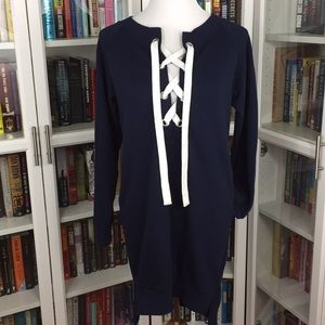 Navy Lace-Up Sweater Dress